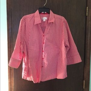 Bright, cheerful red checked button down shirt